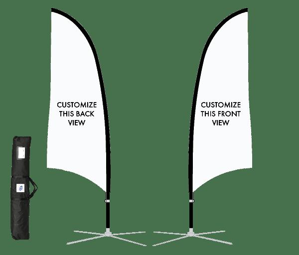 13' Blade Sport Flag Kit, DS, White Fabric,